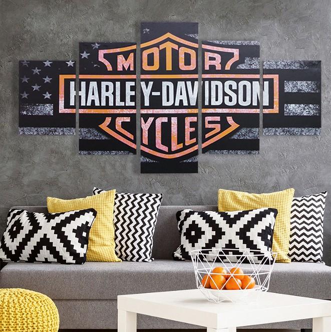 【予約】期間限定セール インテリアアートパネル 絵画 壁掛け装飾 ハーレーダビッドソン HARLEY DAVIDSON バイク ロゴ 雑貨 総長150×総高80cm 5枚set 78