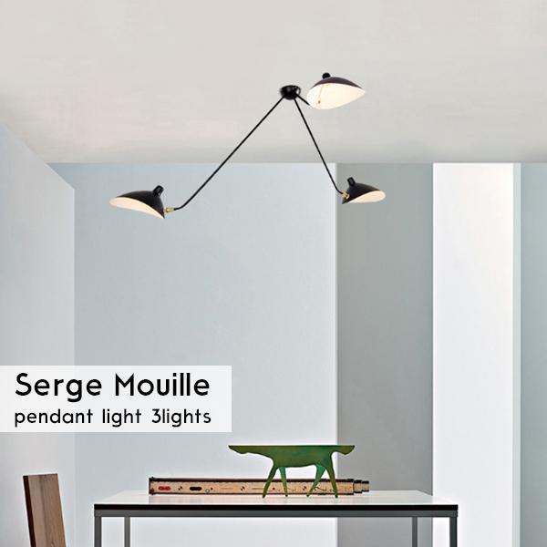 大セール 数量限定販売 Serge Mouille セルジュ・ムーユ デザイナーズ照明 セルジュムーユ 吊り下げ照明 3アーム 北欧デンマーク 男前 黒 13