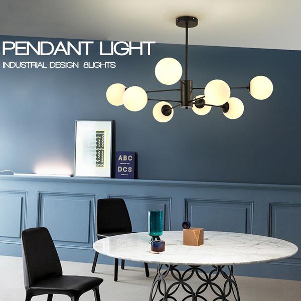 数量限定 大セール インダストリアル 8灯式吊り下げランプ ペンダントライト 北欧 ヴィンテージ 照明 工業照明 長さ2パターン対応 48