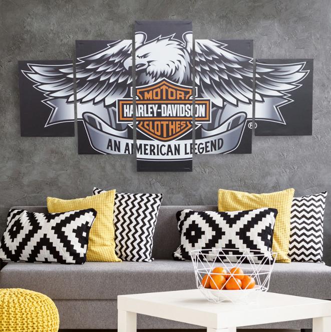 期間限定セール インテリアアートパネル 絵画 壁掛け装飾 ハーレーダビッドソン HARLEY DAVIDSON バイク ワシ 鷲 雑貨 総長150×総高80cm 5枚set 72