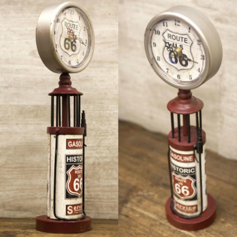 基於世田谷的 Route66 貨物,雜物美國看美國 ROUTE66 路線 66 懷舊氣體泵時鐘 (紅/銀)