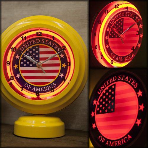 アメリカン ネオン クロック USA FLAG 星条旗 アメリカ国旗 世田谷ベース 時計 照明 アメリカン雑貨 アメリカ 雑貨 グッズ