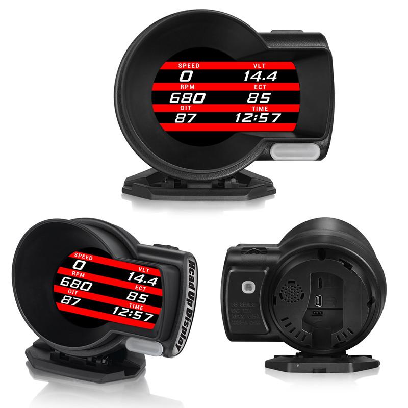 多機能デジタルメーター OBD2マルチメーター F8 「ヘッドアップディスプレイ HUD スピードメーター 時計 水温計 油温計 ブースト計 燃費計 電圧計 エアフロメーター インマニ計」 「送料無料」「あす楽対応」