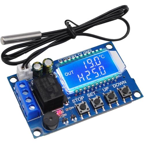 当日発送 マイクロUSB駆動もOK microUSB 日本限定 6-30V駆動 デジタル温度スイッチ (人気激安) ブルーLCD画面 -50~110度