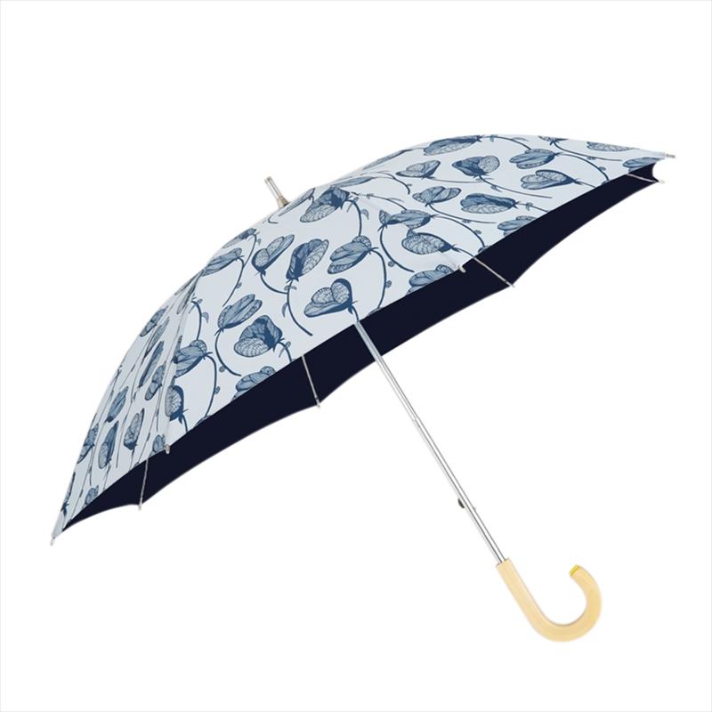 コルコ 長傘 手開き 日傘/晴雨兼用傘 中棒伸縮傘 全6色 ラインフラワー 8本骨 50cm