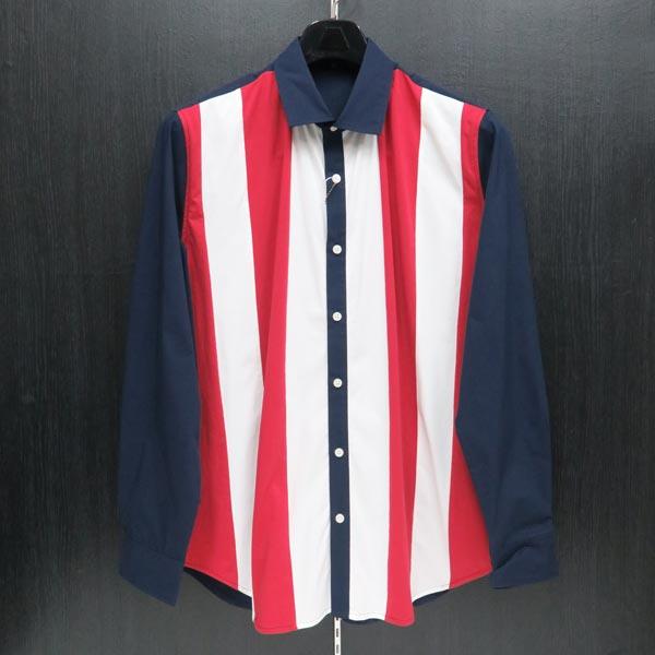 アンジーブロス 長袖シャツ 紺/白/赤 52(3Lサイズ) 01-1003-021-49
