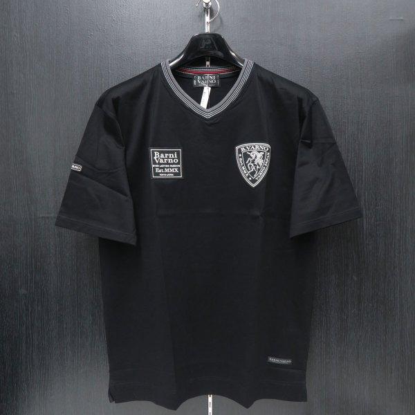 2018年夏モデル バーニヴァーノ Vネック半袖Tシャツ 黒 M/Lサイズ BSS-HTH2849-09 BARNI VARNO
