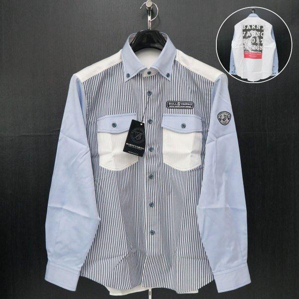 バーニヴァーノ 長袖ボタンダウンシャツ 白/水色/紺ストライプ Lサイズ BSS-ISN3281-62 BARNI VARNO