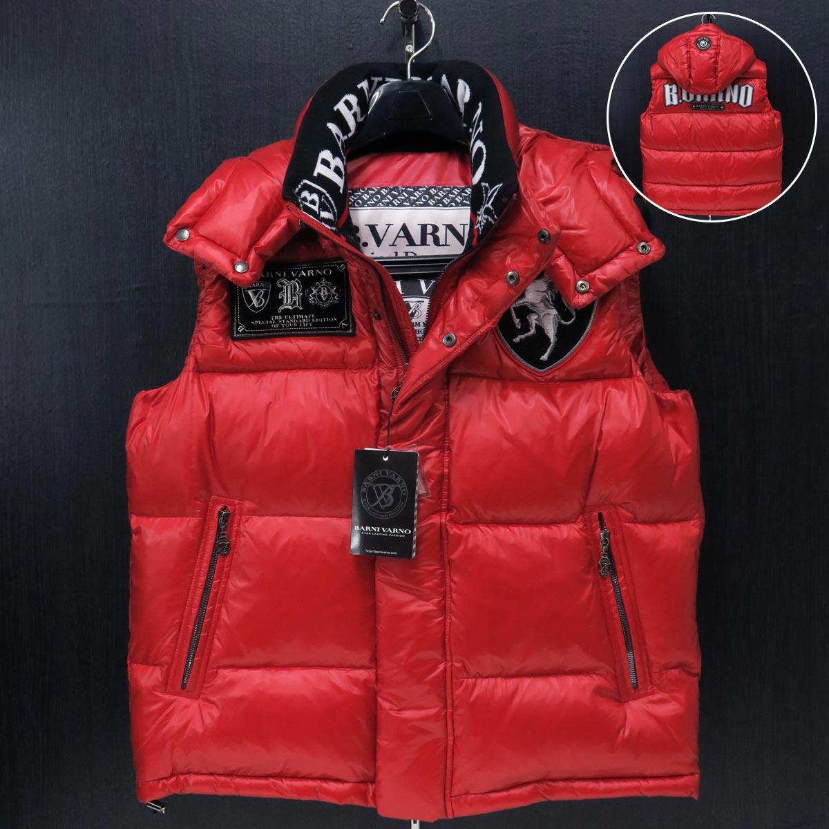 バーニヴァーノ ユニコーンアップリケ刺繍ダウンベスト 赤 Lサイズ BAW-IDV3405-45