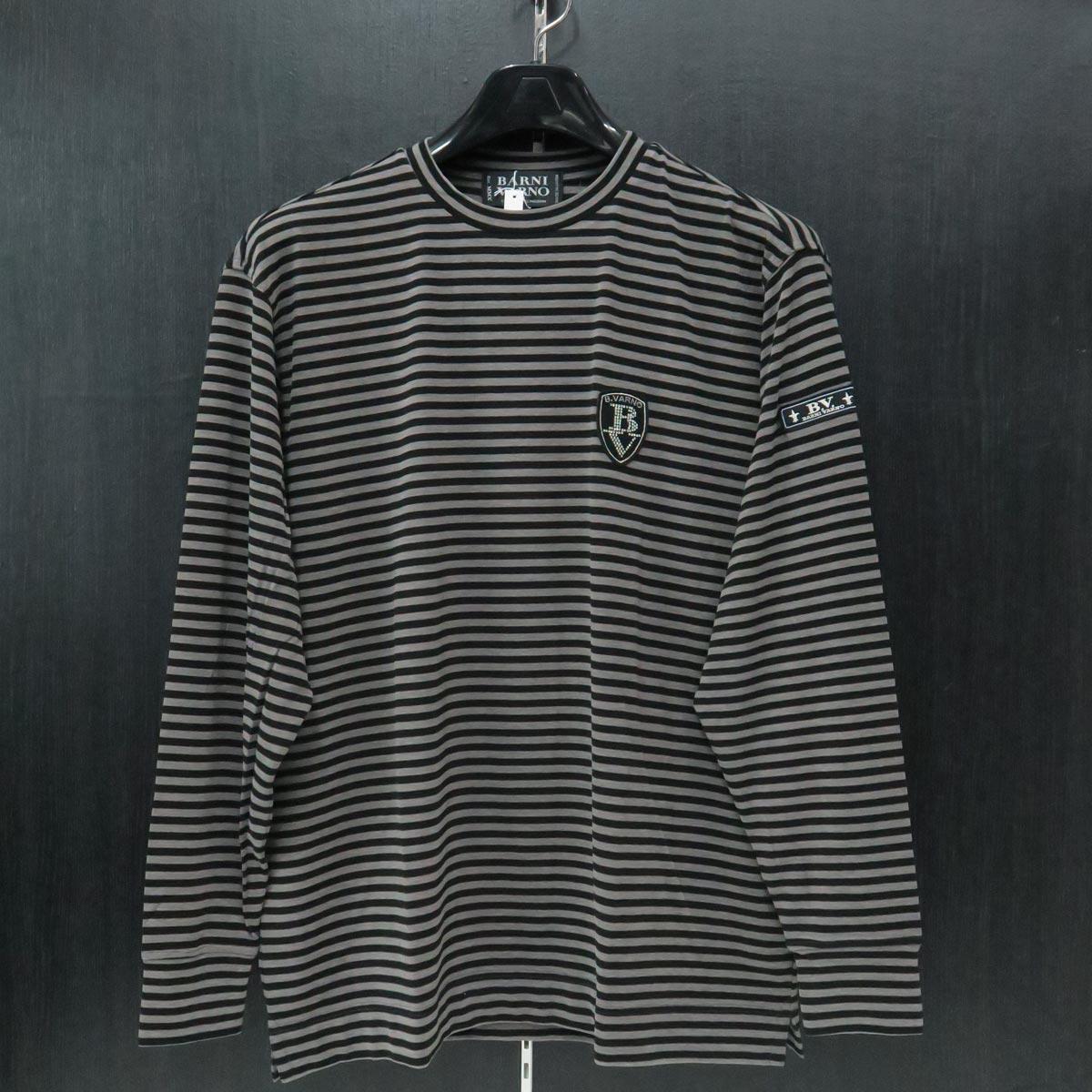バーニヴァーノ 丸首Tシャツ Lサイズ 黒グレー BAW-IST3459-07