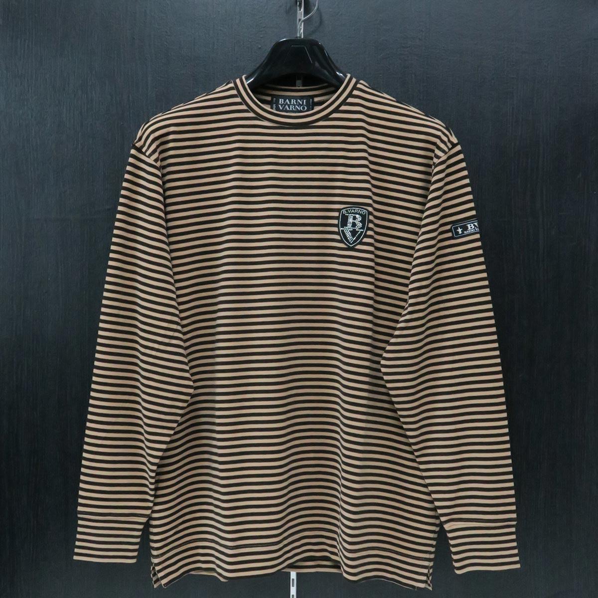 バーニヴァーノ 丸首Tシャツ Lサイズ 茶/モカ茶 BAW-IST3459-15