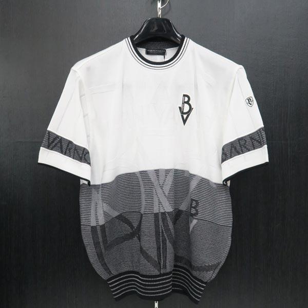 バーニヴァーノ 半袖セーター 白/黒 M/L BSS-JSW3615-09