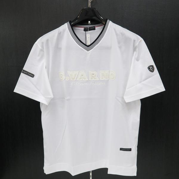 バーニヴァーノ 半袖VネックTシャツ 白 M/L BSS-JTH3645-01