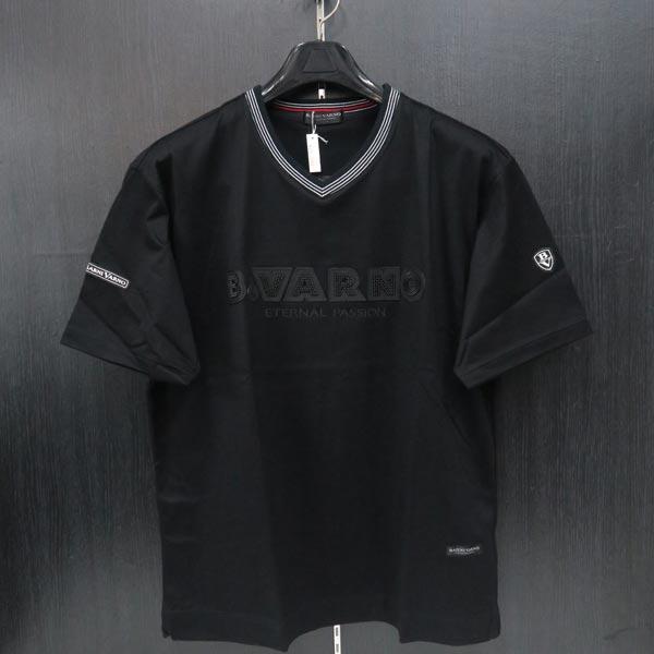 バーニヴァーノ 半袖VネックTシャツ 黒 M/L BSS-JTH3645-09