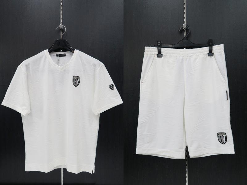 バーニヴァーノ 半袖Tシャツ上下セット 白 L BSS-JTH3663-01
