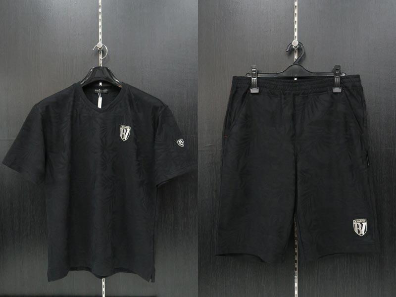 バーニヴァーノ 半袖Tシャツ上下セット 黒 M/L BSS-JTH3663-09