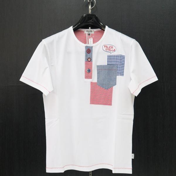 フェリシスステラ ヘンリーネック半袖Tシャツ 白 50サイズ 555702-A10