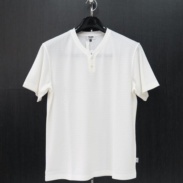 フェリシスステラ ヘンリーネック半袖Tシャツ 白 52サイズ 555703-A11