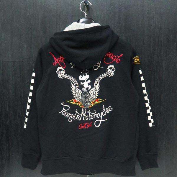 フラッグスタッフ スヌーピー刺繍ジップアップパーカー 黒 494051-20