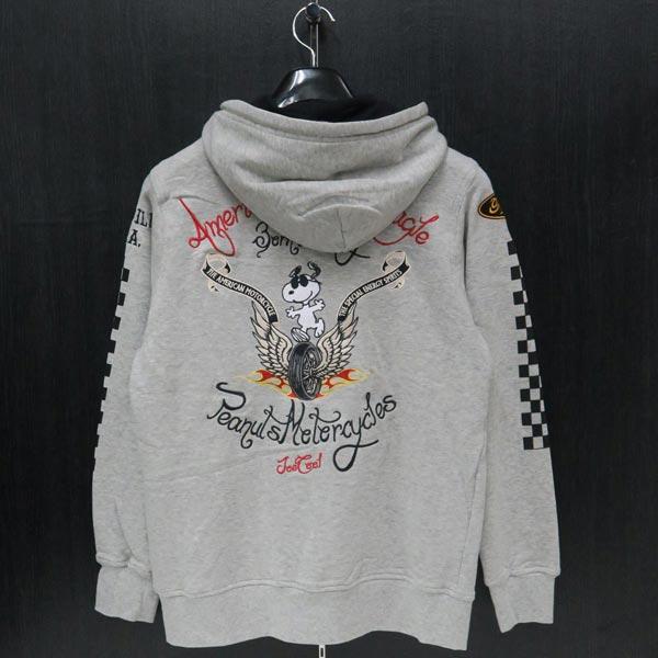 フラッグスタッフ スヌーピー刺繍ジップアップパーカー グレー 494051-120