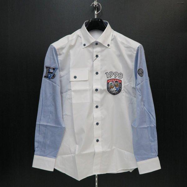 バーニヴァーノ 長袖ボタンダウンシャツ Lサイズ 白/ブルー BAW-FSN2249-62