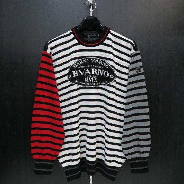 バーニヴァーノ 丸首セーター 白/黒/赤 LLサイズ BAW-FSW2213-90