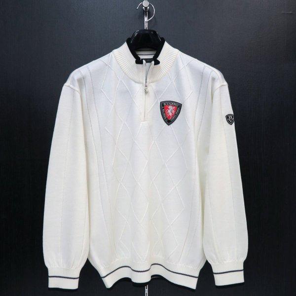 バーニヴァーノ ハーフジップセーター 白 LLサイズ BAW-FSW2219-01