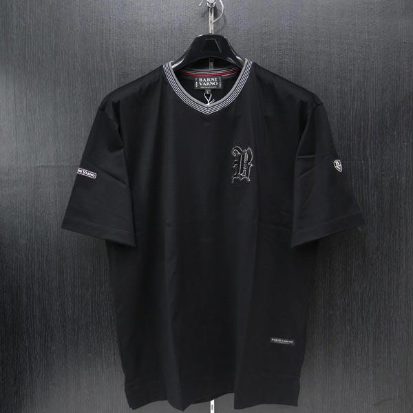 バーニヴァーノ Vネック半袖Tシャツ 黒 L BSS-ITH3251-09 BARNI VARNO 夏物