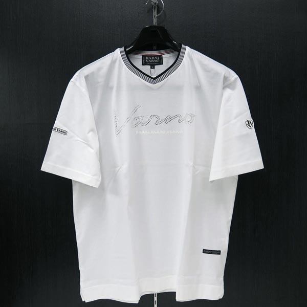 バーニヴァーノ Vネック半袖Tシャツ 白 M/L BSS-ITH3250-01 BARNI VARNO 夏物