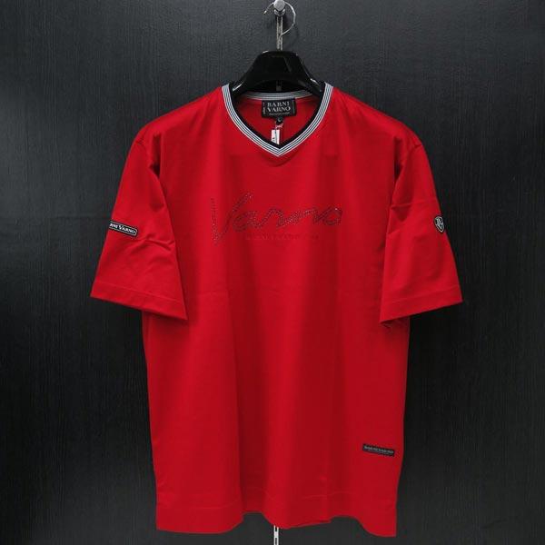 バーニヴァーノ Vネック半袖Tシャツ 赤 L BSS-ITH3250-45 BARNI VARNO 夏物