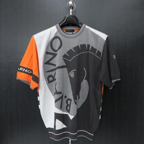 バーニヴァーノ 半袖セーター オレンジ Lサイズ BSS-ISW3217-33