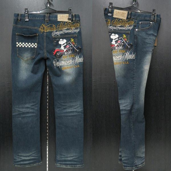 フラッグスタッフ スヌーピー刺繍5ポケットジーンズ インディゴ 492201-40 FLAGSTAFF SNOOPY
