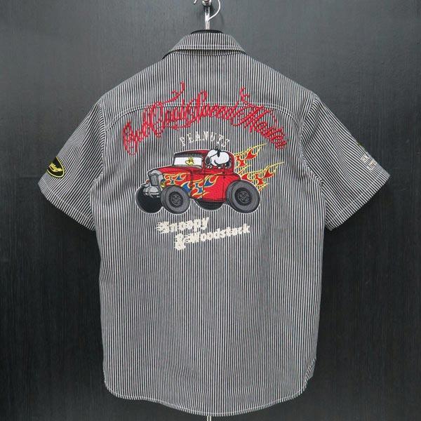 フラッグスタッフ スヌーピー刺繍半袖ヒッコリーシャツ M/L/XL/XXLサイズ 黒 492031-20