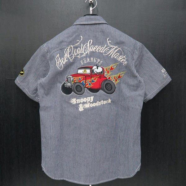 フラッグスタッフ スヌーピー刺繍半袖ヒッコリーシャツ M/L/XL/XXLサイズ 紺 492031-40