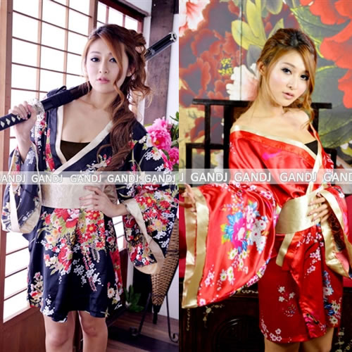 3d07a688e Popular kimono dress series. ☆ glossy lovely courtesan style! Floral print  x is also cute and sexy in a gold kimono mini dress!