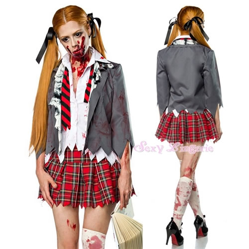 Christmas Zombie Costume.Costume Play Sexy Uniform Clothes Party Event Halloween Supermarket Low Price Zombie High School Girl Ghost Halloween Koss Character Costume Play