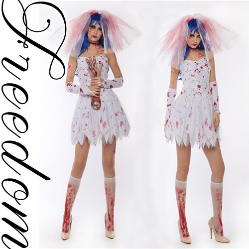 Christmas Zombie Costume.Deluxe Halloween Cheap Zombie Bride Dress Costume Horror Zombicospre Blood Print Costume Character Cosplay Costume Costumes Party Events Fancy Dress