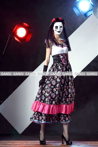Scull pattern dress costume! ?Go and can dress a flower race well in headband u0026 scull pattern cutely! It is zombie costume of the Mexican bride -style?  sc 1 st  Rakuten & w-freedom | Rakuten Global Market: Costume play sexy uniform clothes ...