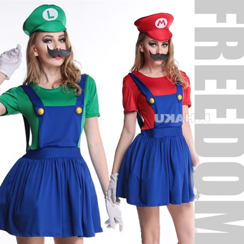 an extreme popularity size constant seller it is super mario of the flare style with a built in cute race pannier mario luigi style costume