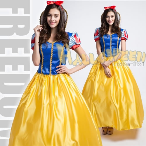 it is elegant cute there is the big size it is the long dress costume of the disney snow white style
