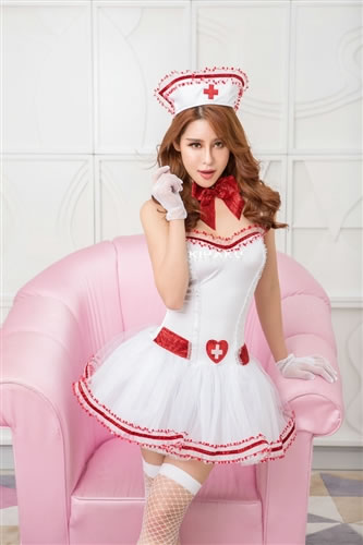 c69137dc0bdc5 ☆It is the basic nurse costume set which cute sexy can dress well in  pannier-style softly♪