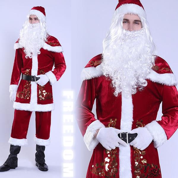 クリスマス サンタ サンタクロース サンタコス 衣装 メンズ コスプレ コスチューム パーティー メンズコス ハロウィン ★ 人気定番のクリスマスメンズサンタクロースコスチューム ★ フリーダム セール sale
