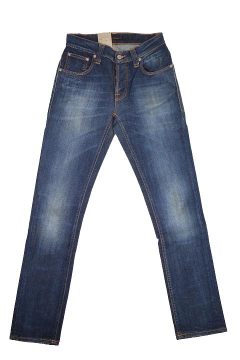 Nudie Herren Slim Fit JeansGrim Tim Org Stretch White Knee Blau