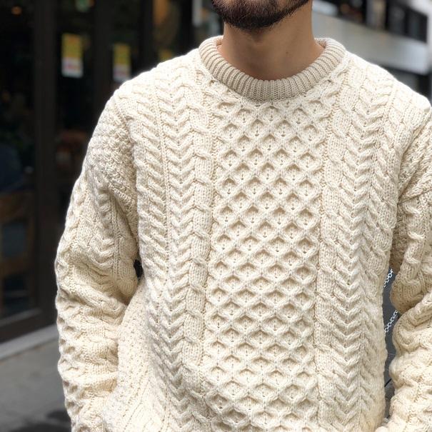 Aran / Woollen Mills Fisherman Sweater Crew Black, Natural(アラン ニット セーター)