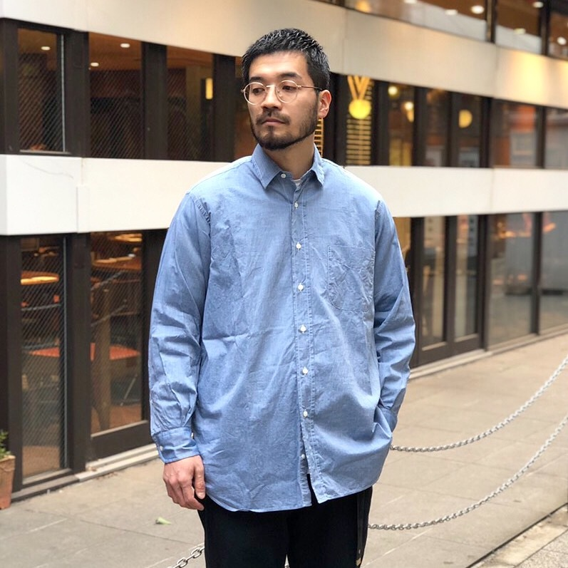 INDIVIDUALIZED SHIRTS OVER SIZE L/S SHIRTS -CHAMBRAY- White Head Eagle 別注 (インディビジュアライズドシャツ )