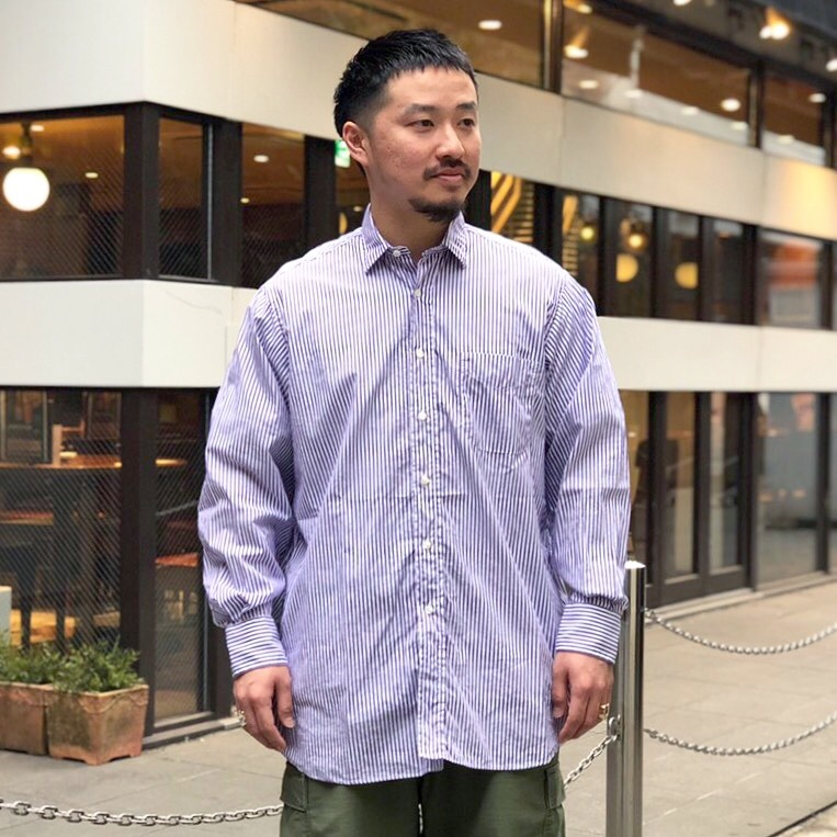 INDIVIDUALIZED SHIRTS OVER SIZE L/S SHIRTS -BARBER STRIPED- White Head Eagle 別注 (インディビジュアライズドシャツ )