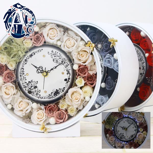 プリザーブドフラワー 時計 シック アンティーク 花時計 LED 光る 掛け時計 おしゃれ 木製 かわいい 北欧 花 音がしない 壁掛け 置時計 置き時計 お祝い 刻印 名入れ ギフト プレゼント アレンジメント 黒 誕生日 丸 送料無料