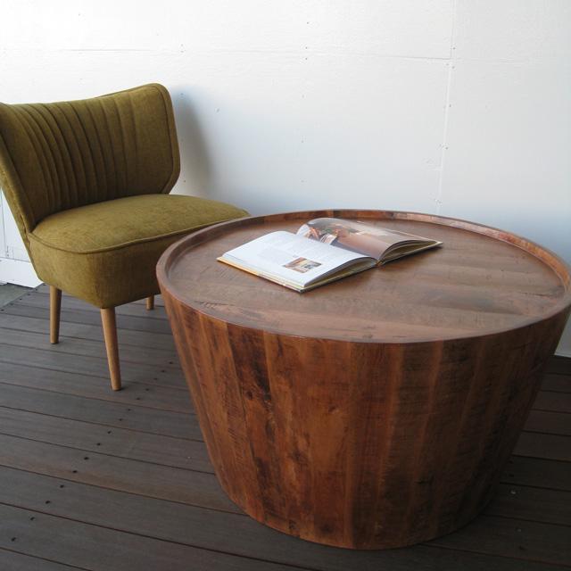 センターテーブル 丸テーブル リビングテーブル コーヒーテーブル カフェテーブル おしゃれ 無垢 マンゴーウッド無垢 木製 天然木 かっこいい ヴィンテージ 送料込み【送料無料】ラウンド コーヒーテーブル マンゴーウッド無垢