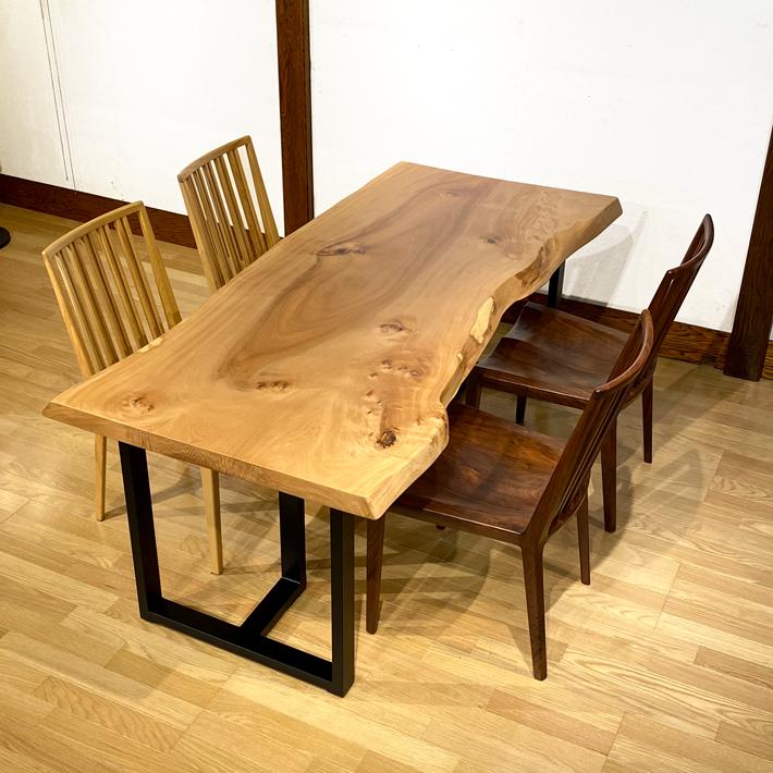 一枚板 テーブル 栃 無垢 一枚板テーブル ダイニングテーブル 座卓 スチール 木の家具 新築 リフォーム かっこいい 天然木 送料込み 200cm【開梱設置・送料無料】栃 一枚板テーブル(兼用脚付)天板5.5cm