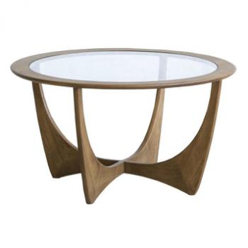 ビンテージのリプロダクト 遊び心と存在感のあるコーヒーテーブル ナラ材による曲線的なフォルムで高級感のある仕上がり コーヒーテーブル カフェテーブル coffe カェ センターテーブル ガラステーブル アンティーク おしゃれ 木製 セールSALE%OFF 天然木 送料無料 売れ筋 ナラ無垢 丸テーブル リビングテーブル かっこいい ヴィンテージ Taivas リプロダクト 百貨店